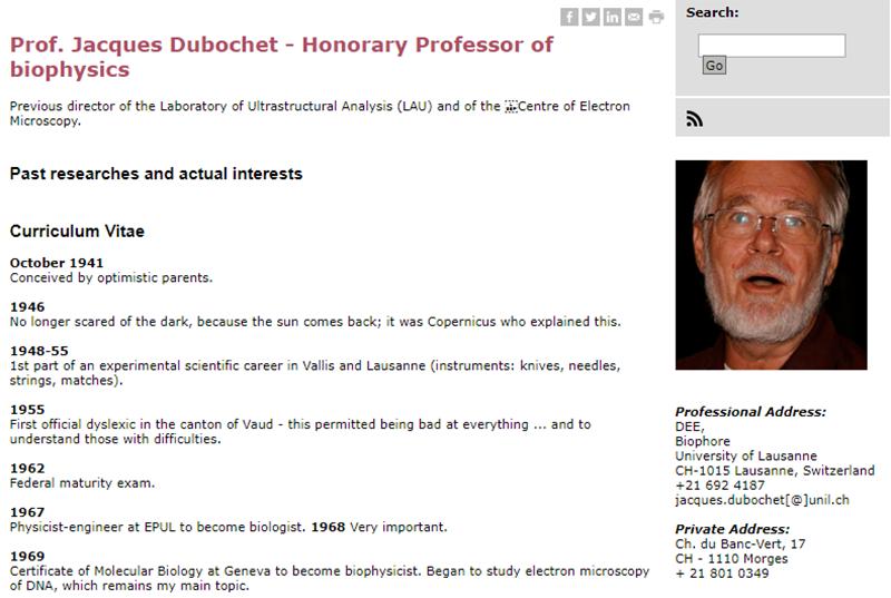 Jacques Dubochet curriculum